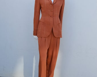 Vintage 80's RICHARD TYLER suit pantsuit 40's inspired 2 pieces suit high waisted wide legged pants tailored jacket Sz 6 SILK by thekaliman