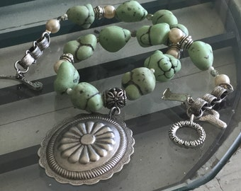 Green turquoise nuggets Repurposed scalloped pewter pendant assemblage necklace junk gypsy