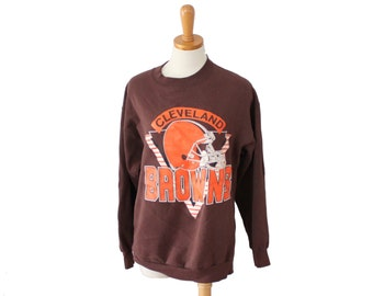 Vintage 80s Cleveland Browns Sweatshirt // NFL football Trench // Men M Women L