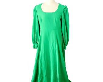60% off sale // Vintage 70s Kelly Grass Green Renaissance Dress // Women Medium Large Full Length // mod, vibrant