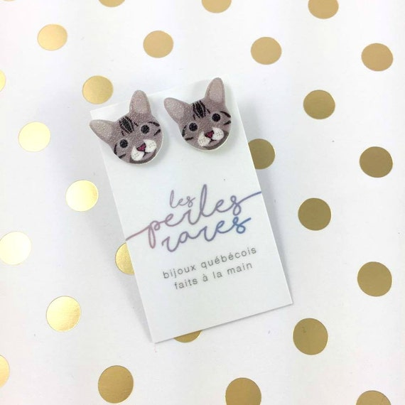 Small, grey, cat, catlover, carfashion, earrings, light, hypoallergenic, plastic, stainless stud, handmade, les perles rares