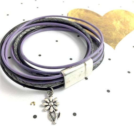 Leather, magnetic, magnet, bracelet, black, purple, lilac,  flower charm, black leather, choker necklace, magnet, les perles rares