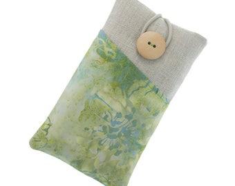 Fabric iPhone 6 case, iPhone 6 Plus sleeve, iPhone 5 pouch, iPhone 7 fabric case, Galaxy S5 case, Galaxy S5 mini cover, green, blue, batik