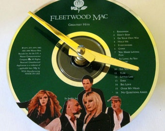 CD clock.  Fleetwood Mac clock. Recycled CD. Altered CD. Music clock. Fleetwood Mac.