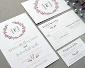 Winter Wedding Invitations, Wreath Wedding Invitation Suite, Red and Grey Wedding Pocket Invites, Monogram Wedding Invite Set Rustic Wedding