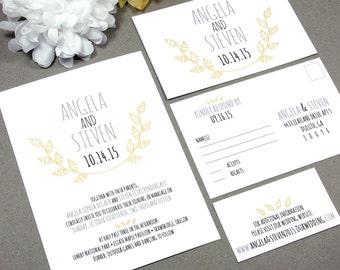 Leaf Laurel Rustic Wedding Invitation Set by RunkPock Designs / Modern Handwritten Leaves Monogram Suite shown in gray /  yellow / black