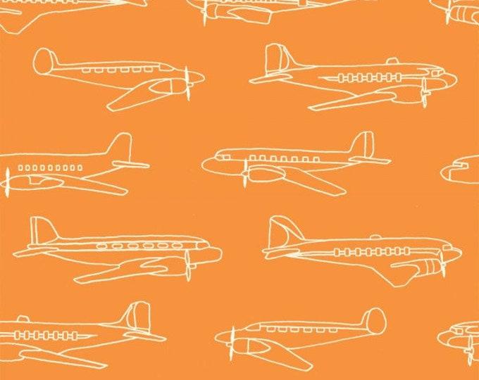 Organic KNIT Fabric - Birch Trans-Pacific Knits - Planes Orange Knit