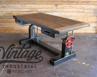 French Industrial Adjustable Height Desk - Vintage work Table