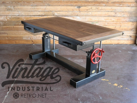 bureau industriel en hauteur r glable travail vintage table. Black Bedroom Furniture Sets. Home Design Ideas