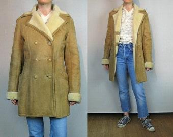 70s SAWYER of Napa Tan Shearling Sheep Fur Coat