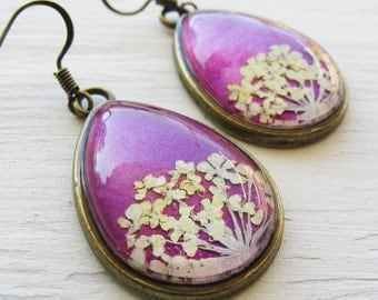 Real Botanical Earrings - Pink and White Antique Brass Teardrop Pressed Flower Earrings