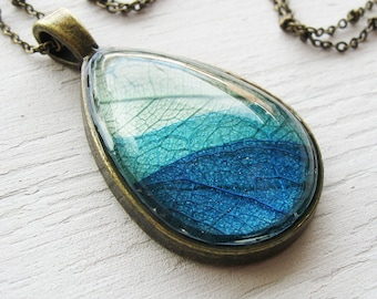 Real Leaf Necklace - Green and Blue Teardrop Necklace