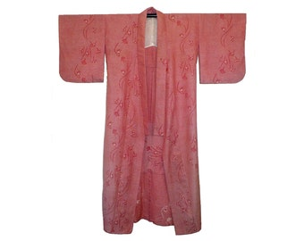 Vintage Men's Wool Kimono, Full Length Robe