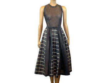 S, Vintage 1960's Day Dress, Gray Cotton Organdy Dress, Small 4