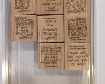 Stampin' Up Quick & Cute wood mounted retired stamp set