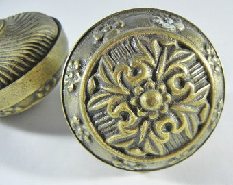 Antique Victorian Eastlake Ornate Brass Door Knob Handle Architectural Salvage original patina set of 2 knobs only no hardware