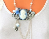 Blue and Silver Brass Necklace, Cameo, Flowers, Pearls