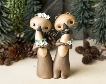Sea Otter Wedding Cake Topper by Bonjour Poupette