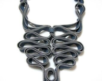Zippers Grey Textile Zipper Handmade Designer Statement Necklace