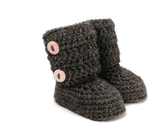 Tall Button Cuff Baby Booties in Charcoal Merino Wool