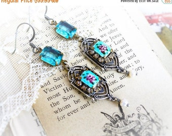 On Sale Lady Mary,Art Deco Vintage Rose French Guilloche Enamel,Vintage Aqua Rhinestone Altered Assemblage Earrings by Hollywood Hillbilly