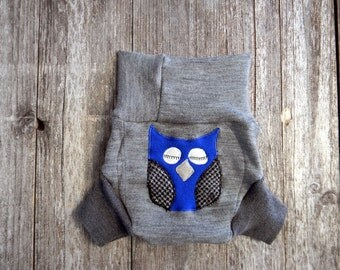 Upcycled Merino Wool Soaker Cover Diaper Cover With Added Doubler Gray With Owl Applique MEDIUM 6-12M Kidsgogreen