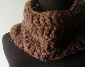 Cowl Neckwarmer Infinity Scarf Wrap in Mocha Chocolate Brown