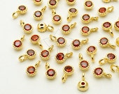 PD-1685-GD / 4 Pcs - Very Tiny Birthstone Charms, January Birthstone, Garnet CZ Pendant, Gold Plated over Brass / 3.2mm x 5mm