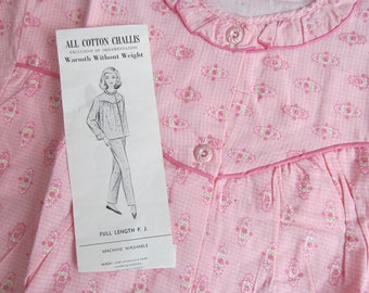 Vintage Womens PJs Pajamas Pink 2 Piece Flannel All Cotton Challis Pants Top Old New Size 36
