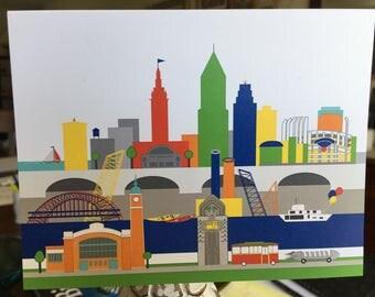 Cleveland in color skyline card, West Side Market, trolley, rocket car, Guardian of Transportation