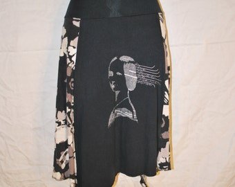Recycled tee shirt skirt  plus size with yoga pant style waistband