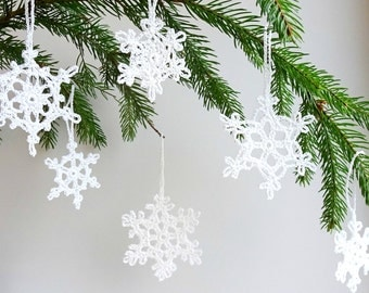 Christmas tree ornaments - crochet snowflakes decorations - snowflakes ornaments - Christmas decoration - winter decor - set of 6