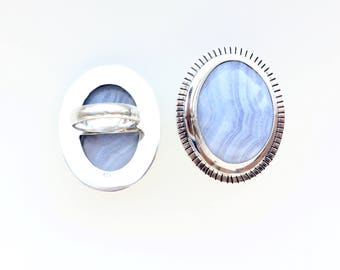 Large Blue Lace Agate Sterling Silver Statement Ring // Big Bright Blue Gemstone Hammered and Stamped Silver Rings