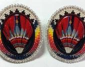 Native American Made Beaded Fan Powwow Earrings
