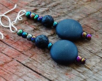 Black Gemstone Earrings, Iridescent Beaded Earrings, Purple and Black Earrings
