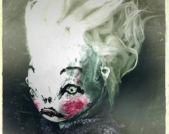 Surreal Portrait Photograph, dark victorian face, Gothic home decor, weird gift, creepy cute photograph, eerie photo, haunting face, gloomy