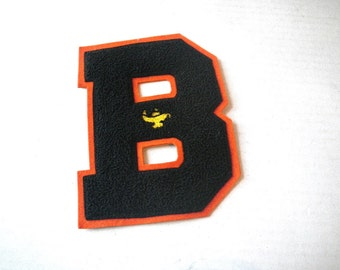 """Large """"B"""" Chenille Letter Sweater Patch - Orange & Black Wool - High School Honor Society"""