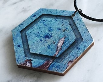 SALE 25% OFF - Wooden pendant, hexagon, rustic bark pattern, textured pattern, turquoise & brown, leather cord, style 44