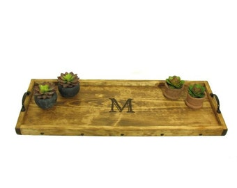 Personalized Buffet Table Tray, Engraved Wooden Ottoman Tray, Decorative Monogrammed Wood Serving Tray, Personalized Gift, Engraved Gift