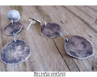full moon drop dangle earrings, drop circle earrings, full moon round silver drop dangle earrings, recycled sterling silver dangle earrings