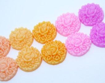 10PCS - Rosebud Flower Cabochons - Resin - 5 Color Sampler Pack - 17mm - Pastels