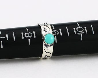 Size 8 3/4 Ring Handcrafted Sterling Silver and Turquoise Hand Stamped Band of Flowers Contemporary Artisan Jewelry Design 291064622117