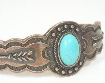 Sale| Turquoise Cuff Bracelet - Southwest - Cowgirl Cuff - Statement Cuff - Cabochon Focal - Tribal - Boho - Chunky - Wide Gemstone Cuff - A