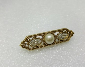 1928 Jewellery Company Victorian Brooch pearl Rhinestone Bar Pin