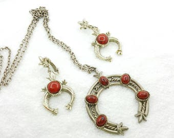 Art Signed Red Squash  Necklace and Clip Earrings South West Styling