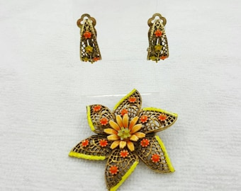 Art Signed Lemon and Tangerine  Brooch and Clip Earrings