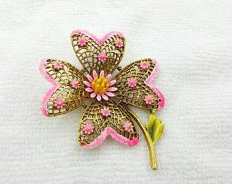 Art Flower  Brooch Hot Pink Gold tone large Retro MCM signed ART
