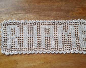 Filet handmade personalize crochet doily, Name Doilly. baby shower gift, anniversaries gift, gift for family,