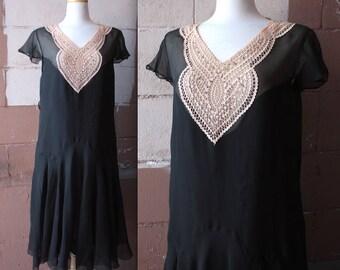 Vintage 1920's Dress // 20s 30s Black Silk Chiffon Flapper Dress with Rose Cream Crochet Lace Heart Appliqué // Rhinestone Studs