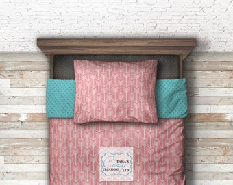Arrow Minky Twin Blanket - Arrow Blanket - Arrow Blanket -Coral Aqua Bedding - Forest Bedding - Mint Coral bedding -Ships out in 1-3 days
